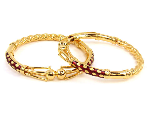 40.60g 22Kt Gold Stackable Bangle Set (Sz: 6) India Jewellery