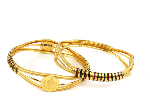 38.50g 22Kt Gold Stackable Bangle Set (Sz: 6) India Jewellery