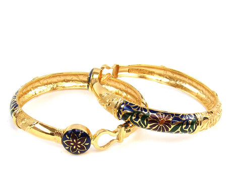 48.20g 22Kt Gold Stackable Bangle Set (Sz: 6) India Jewellery