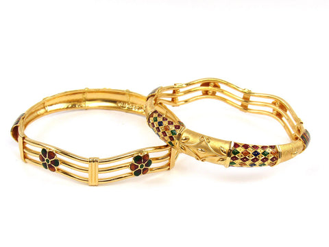 369.60g 22Kt Gold Stackable Bangle Set (Sz: 6) India Jewellery