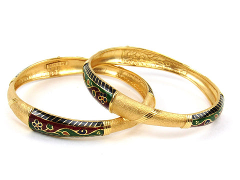 33.20g 22Kt Gold Stackable Bangle Set (Sz: 5) India Jewellery