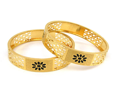 39.50g 22Kt Gold Stackable Bangle Set (Sz: 4) India Jewellery