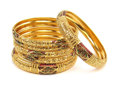 107.20g 22Kt Gold Stackable Bangle Set (Sz: 6) India Jewellery