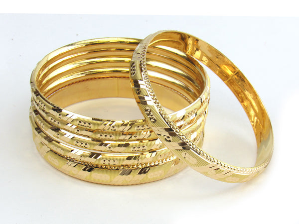 59.95g 22kt Gold Stackable Bangle Set (Sz: 6) - 182