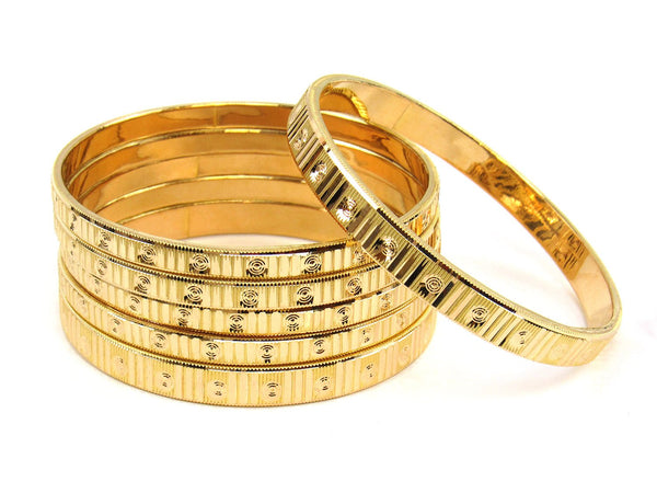 63.10g 22Kt Gold Stackable Bangle Set (Sz: 6) - 1831
