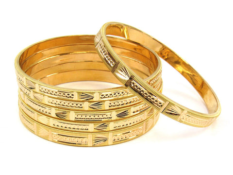 63.40g 22Kt Gold Stackable Bangle Set (Sz: 8) India Jewellery