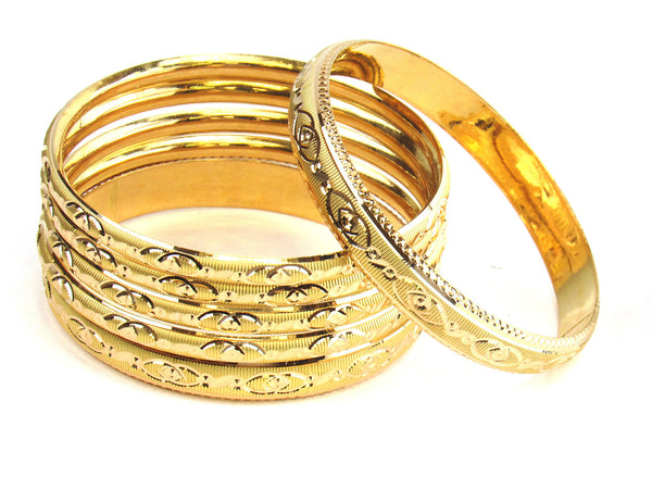 58.30g 22kt Gold Stackable Bangle Set (Sz: 4) - 191