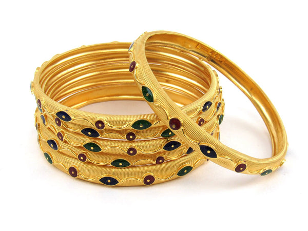 67.70g 22Kt Gold Stackable Bangle Set (Sz: 6) - 1942