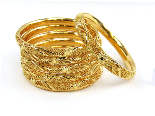 81.00g 22Kt Gold Stackable Bangle Set (Sz: 4) - 1958