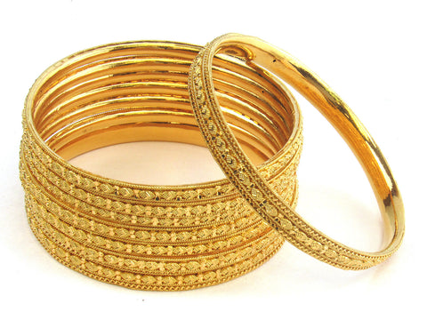 108.10g 22kt Gold Stackable Bangle Set (Sz: 6) India Jewellery
