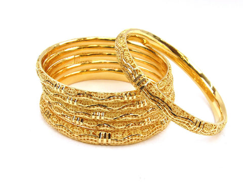 74.70g 22Kt Gold Stackable Bangle Set (Sz: 8) - 1978