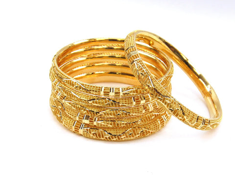 63.30g 22Kt Gold Stackable Bangle Set (Sz: 4) - 1979