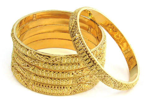 102.50g 22kt Gold Stackable Bangle Set (Sz: 8) India Jewellery