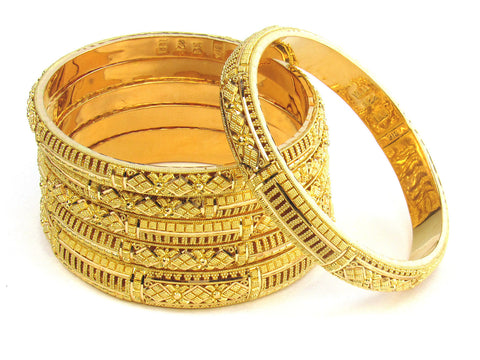107.30g 22kt Gold Stackable Bangle Set (Sz: 6) India Jewellery