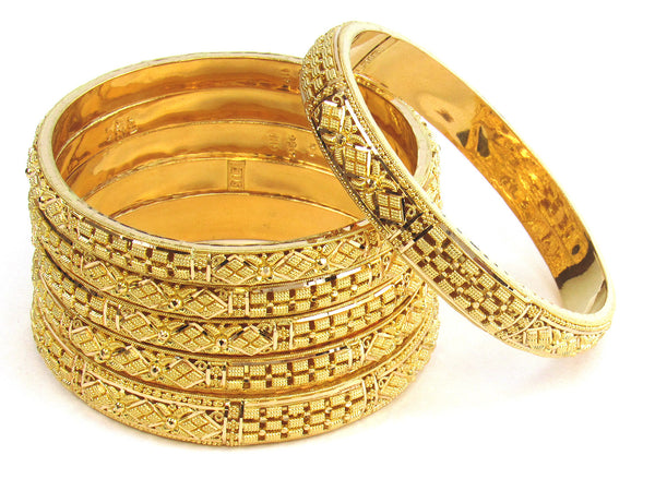 94.10g 22kt Gold Stackable Bangle Set (Sz: 4) - 202