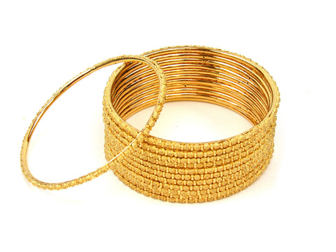 106.65g 22Kt Gold Stackable Bangle Set (Sz: 8) India Jewellery
