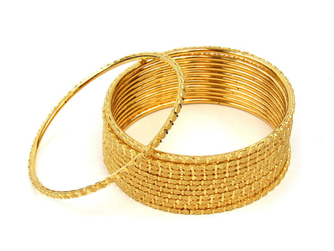105.95g 22Kt Gold Stackable Bangle Set (Sz: 8) India Jewellery
