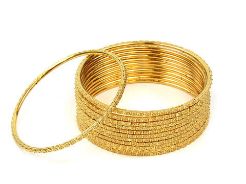 100.20g 22Kt Gold Stackable Bangle Set (Sz: 8) India Jewellery