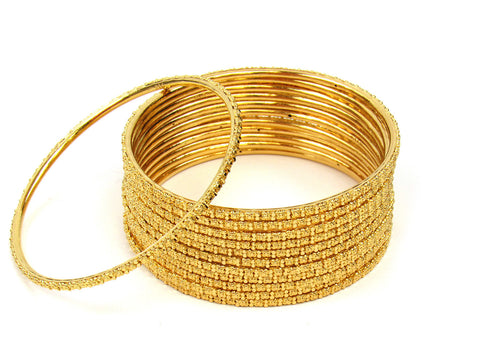 103.70g 22Kt Gold Stackable Bangle Set (Sz: 6) India Jewellery