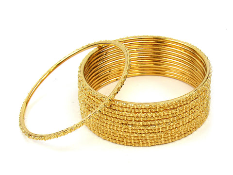 100.10g 22Kt Gold Stackable Bangle Set (Sz: 6) India Jewellery