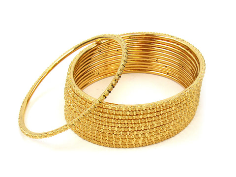 107.10g 22Kt Gold Stackable Bangle Set (Sz: 6) India Jewellery