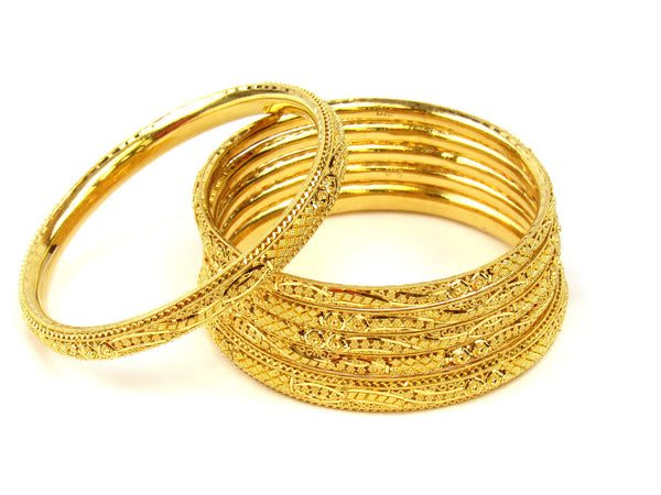 80.60g 22Kt Gold Stackable Bangle Set (Sz: 4) - 224