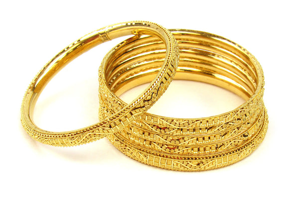 87.60g 22Kt Gold Stackable Bangle Set (Sz: 6) - 232