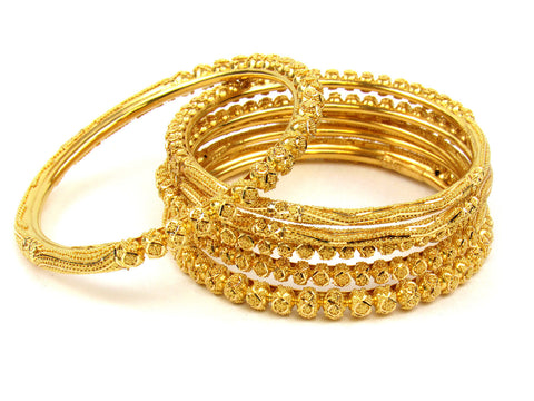 100.00g 22Kt Gold Stackable Bangle Set (Sz: 6) India Jewellery