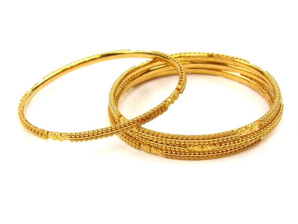 55.60g 22Kt Gold Stackable Bangle Set (Sz: 6) - 254