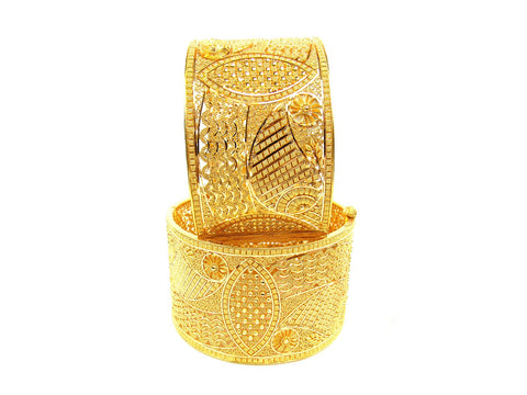 131.40g 22Kt Gold Yellow Bangle Set (Sz: 4) India Jewellery