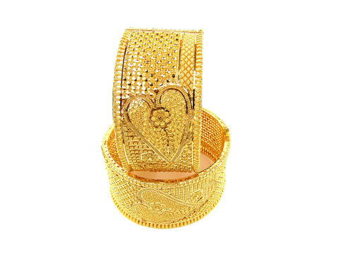 104.00g 22Kt Gold Yellow Bangle Set (Sz: 4) India Jewellery