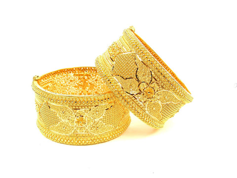 113.30g 22Kt Gold Yellow Bangle Set (Sz: 4) India Jewellery