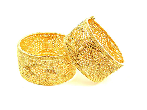 105.60g 22Kt Gold Yellow Bangle Set (Sz: 4) India Jewellery