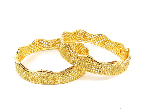 43.10g 22Kt Gold Yellow Bangle Set (Sz: 4) India Jewellery