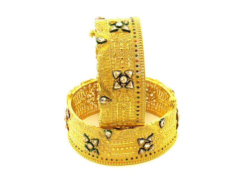 103.85g 22Kt Gold Yellow Bangle Set India Jewellery