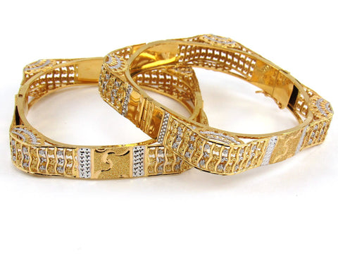 46.89g 22Kt Gold Yellow Bangle Set (Sz: 4)