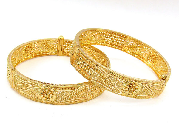 55.00g 22Kt Gold Yellow Bangle Set (Sz: 6) - 1989