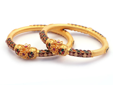 49.60g 22Kt Gold Yellow Bangle Set India Jewellery