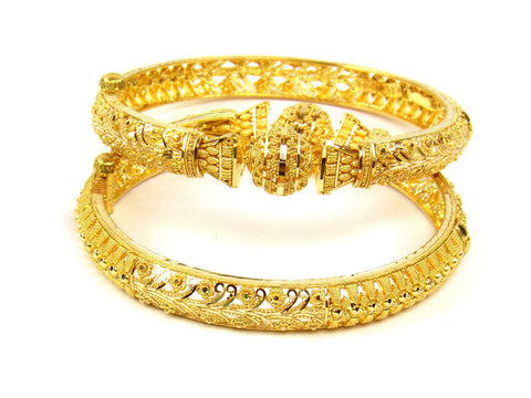 48.80g 22Kt Gold Yellow Bangle Set (Sz: 5) India Jewellery