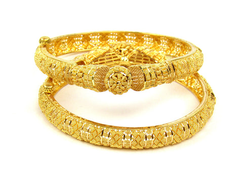 52.40g 22Kt Gold Yellow Bangle Set (Sz: 5) India Jewellery