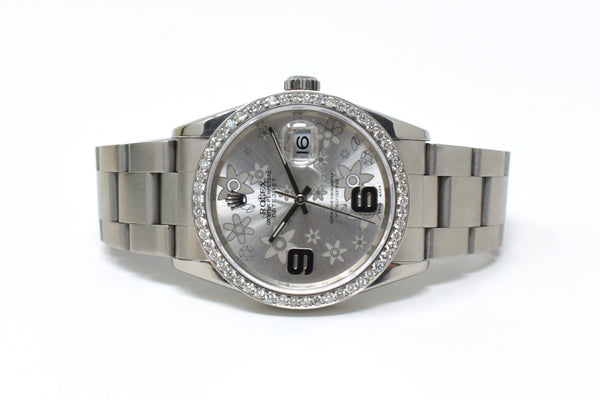 Rolex Datejust 36mm Silver Floral Dial - Diamond Set
