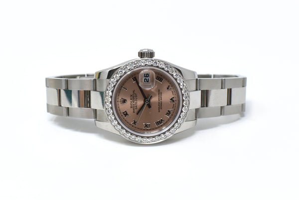 Rolex Datejust  26mm Pink Roman Dial - Diamond Set