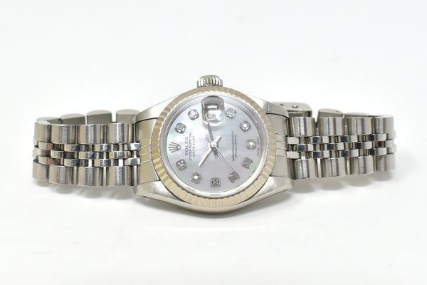 Rolex DayJust Ladies 26mm Pearl with Diamond Dial - Fluted 18K Gold