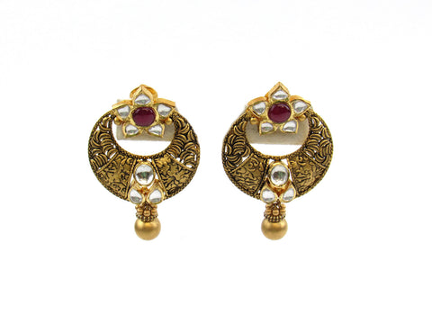 28.45g 22Kt Gold Antique Earrings India Jewellery