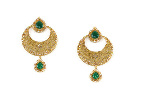 34.88g 22Kt Gold Antique Earrings India Jewellery