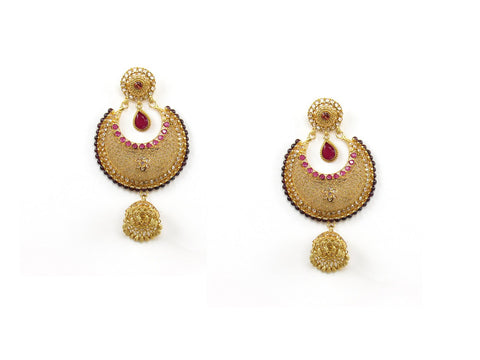 36.09g 22Kt Gold Antique Earrings India Jewellery