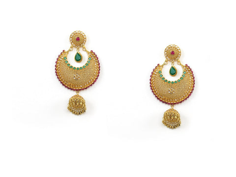 36.18g 22Kt Gold Antique Earrings India Jewellery