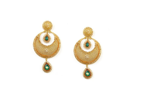 36.90g 22Kt Gold Antique Earrings India Jewellery