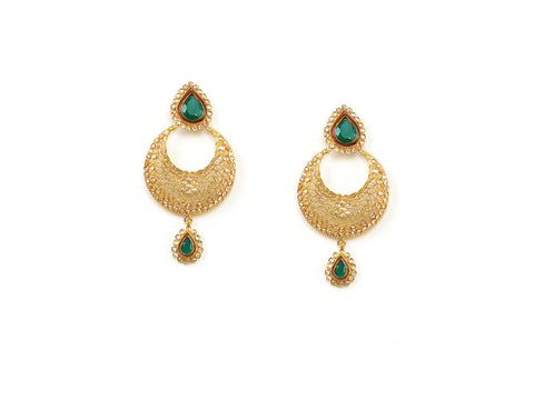 21.40g 22Kt Gold Antique Earrings India Jewellery