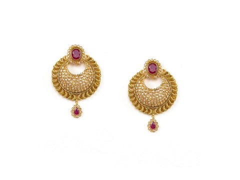 24.24g 22Kt Gold Antique Earrings India Jewellery